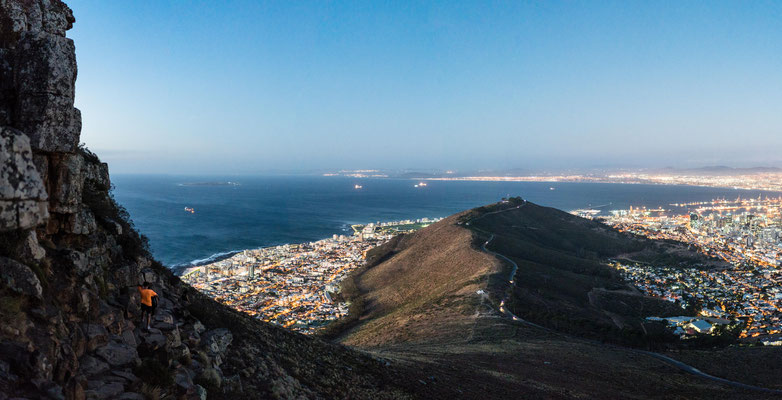 Signal Hill, Capetown, seen from Lion's Head during dusk
