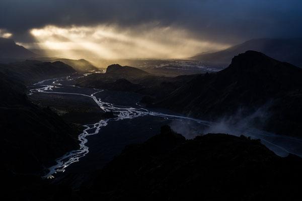 Þórsmörk valley during sunset in Iceland