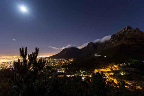 Night shot of Table Mountain and Capetown city bowl from Signal Hill, South Africa