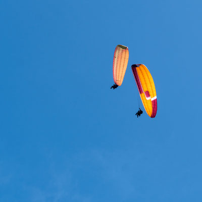 Paragliders dancing in the sky