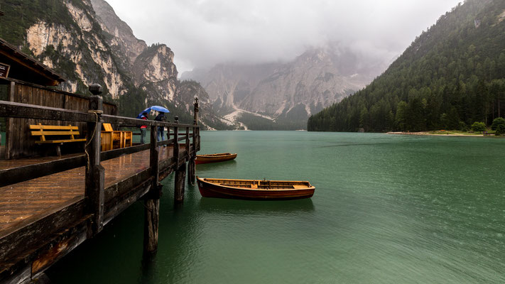 Foggy mood at Lago di Braies, Southern Tyrol, Italy