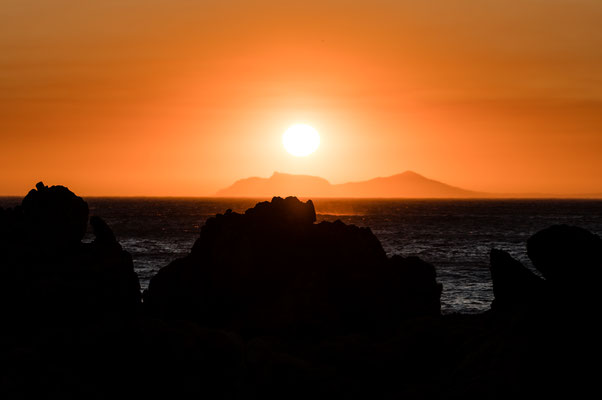 Sunset over Cape Point as seen from Rooi-Els over the False Bay, South Africa