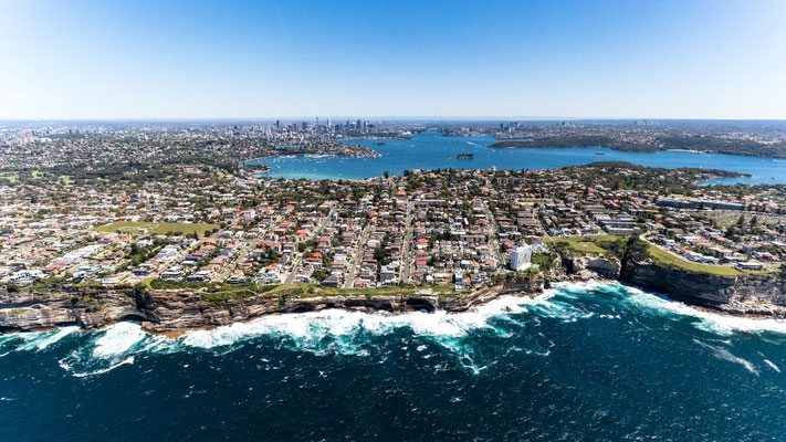 Aerial of coast of Sydney, New South Wales, Australia