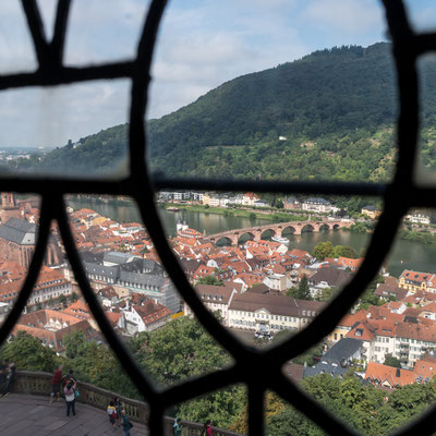 Looking down Heidelberg through a window of the castle of Heidelberg