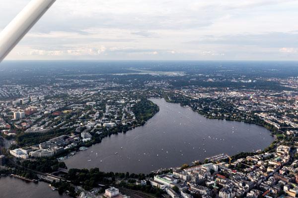 Aerial of Binnenalster Hamburg