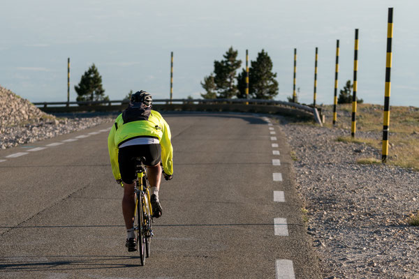 Cyclist riding down Mont Ventoux, Provence