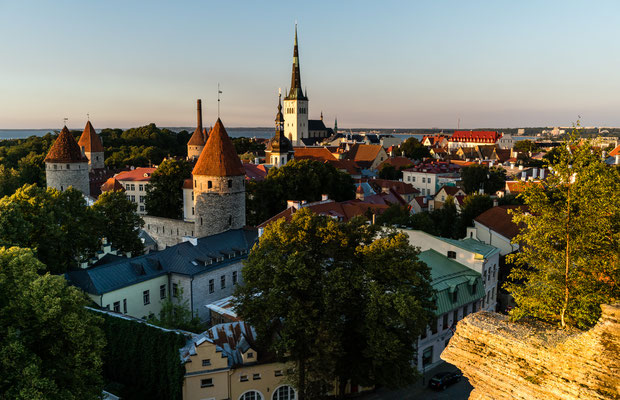View from Toompea hill in Tallinn at sunset