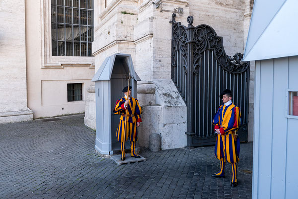 The famous Swiss Guard protecting the Pope at St. Peter's Basilica