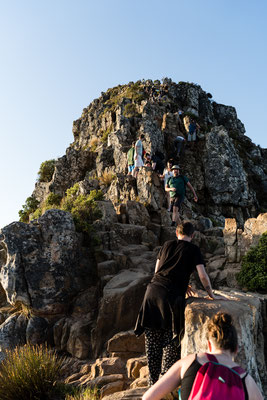 The last bits of Lion's Head hike in Capetown are getting steep and crowded