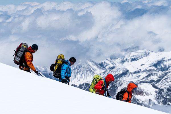 Mountain climber on Mont Blanc near Chamonix