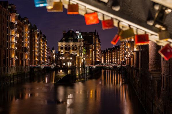 Wasserschloss at Hamburg Speicherstadt at night