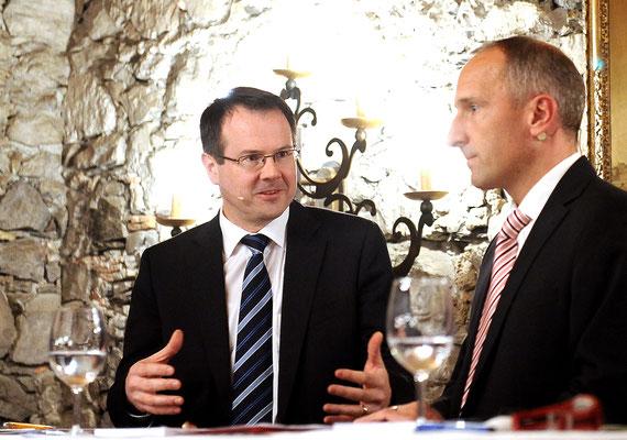 Dezember 2012, Regierungschefkandidaten Pepo Frick, Adrian Hasler und Thomas Zwiefelhofer zu Besuch beim LPC