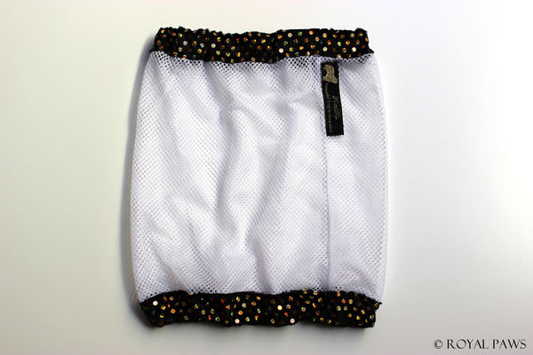 Net: white / Panne velvet: black with gold glitter