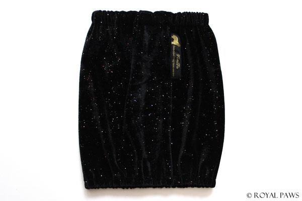 black elastic velvet with multicolor glitter