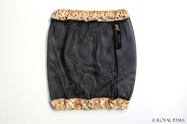 Net: black / Panne velvet: gold with glitter