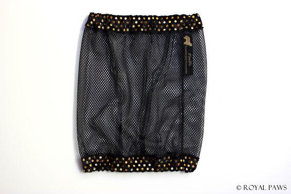Net: black / Panne velvet: black with gold glitter