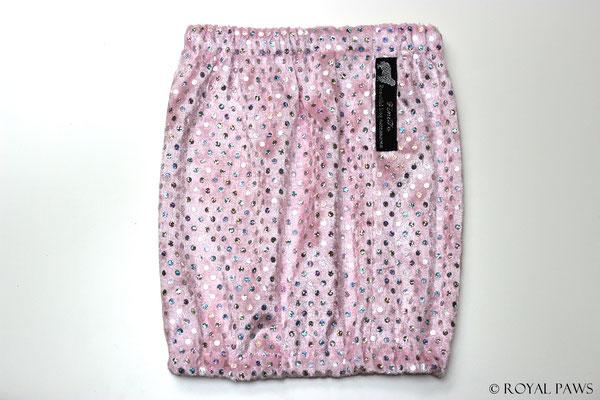 rosa Pannesamt mit silbernen Holo-Pailletten