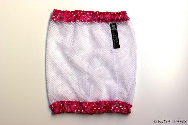 Netz: weiß / Pannesamt: pink mit Glitzer
