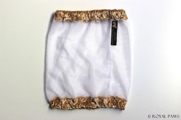 Net: white / Panne velvet: gold with glitter
