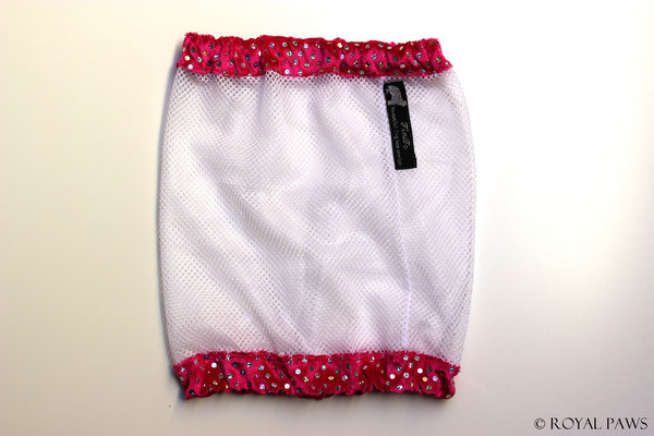 Net: white / Panne velvet: pink with glitter