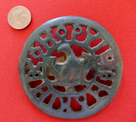 römische Balteus Schließe (3.Jh. n.Chr.) : Optime Maxime Con(serva) - Durchmesser 5,7cm
