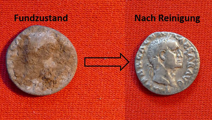 Silbermünze von Kaiser Galba (68-69 n. Chr.) - Nominal: 1 Denar - Ansicht: Kaiser Galba mit Lorbeerkranz, (19mm, 3,3g)