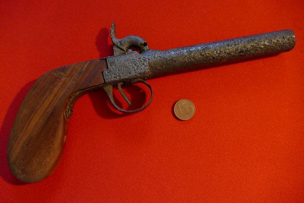 Perkussionspistole - Griff nachträglich restauriert - 19. Jh.