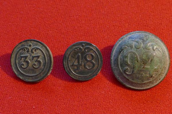 3 Napoleanische Regimentknöpfe