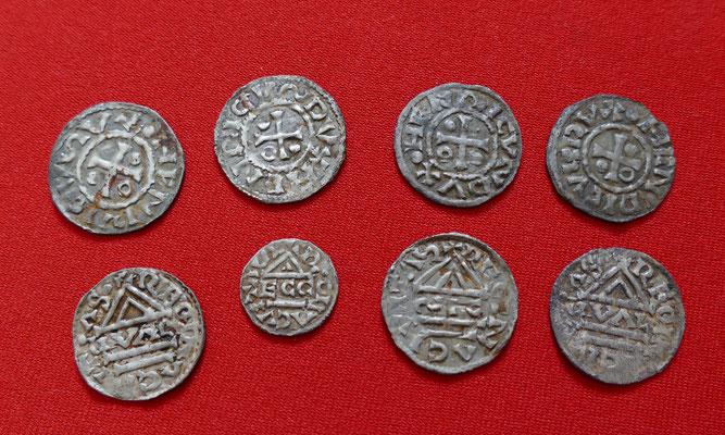 Vorderseite: 7 Denare und 1 Obol von Heinrich II (985-995), verschiedene Münzmeister: GVAL, ECCO, ELLN, SIC