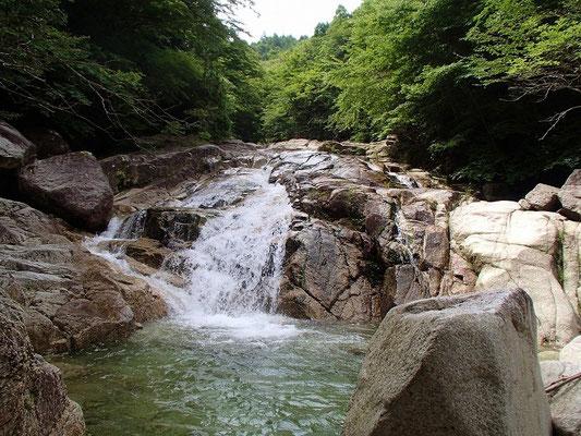 赤坂谷、上流の方が傾斜は少ない
