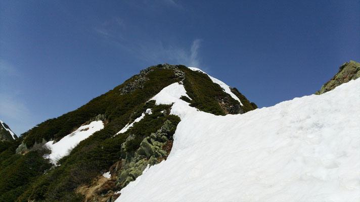 鹿島槍北峰 雪がない・・・