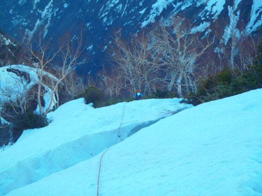 第2クーロアールを越えるとまた雪が。天狗の鼻へ向かう