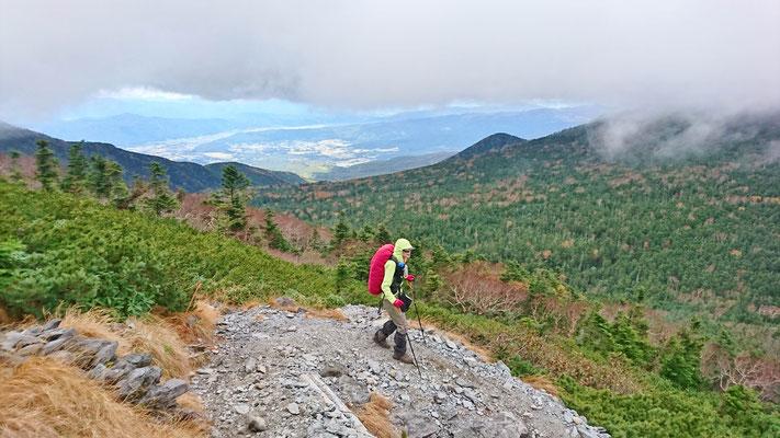 ここでやっとガスが取れました。まもなく樹林帯、そして夏沢峠です。