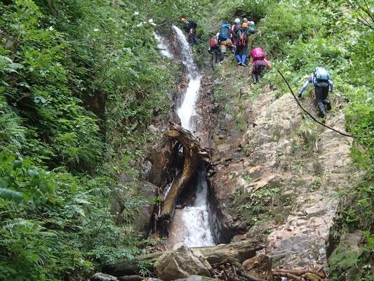 2段7m滝は右手のガリーから巻く