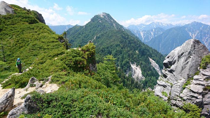 餓鬼のコブまで帰ってきました。中央が唐沢岳