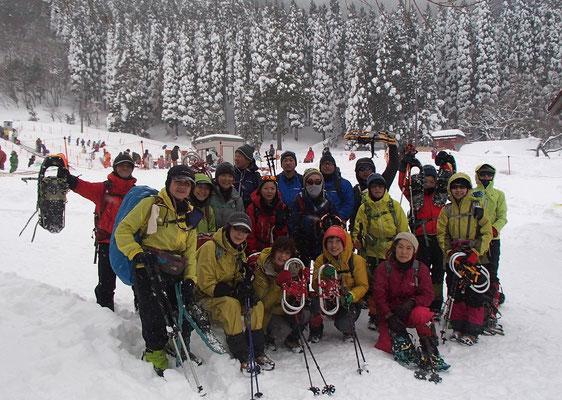 皆さんお疲れさま。楽しい雪山登山教室でした。