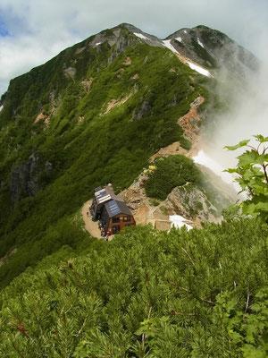 蓮華岳の登りから針ノ木小屋と後ろに針ノ木岳