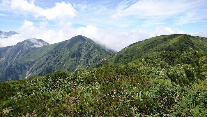 山頂から右から毛勝三山(毛勝山南峰、釜谷山、猫叉山)