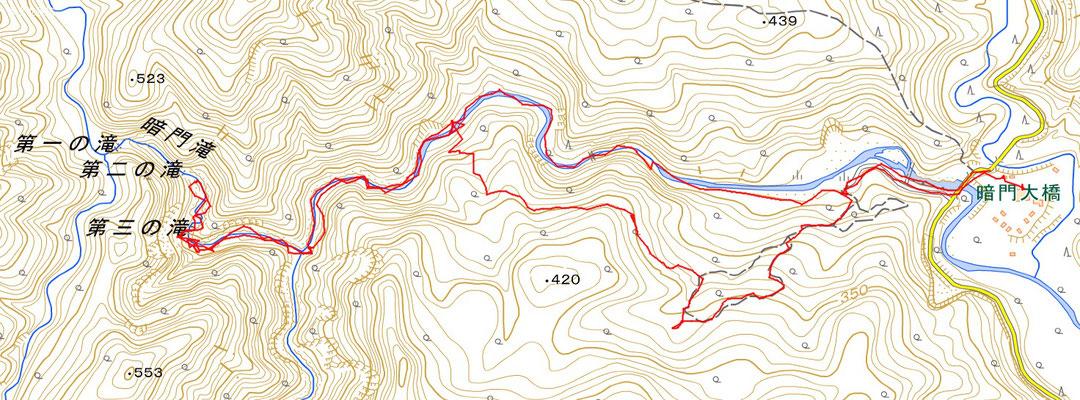 白神山地、暗門ブナ林散策ルート&渓谷ルートGPS軌跡