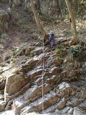 滝横の岩下り
