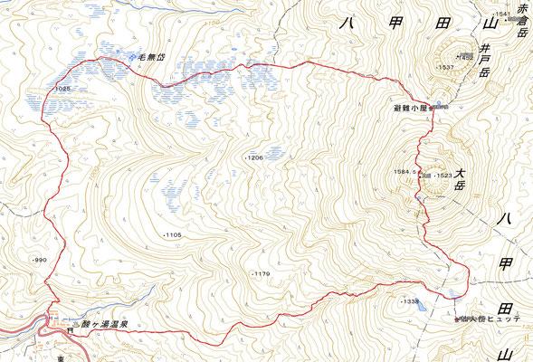 酸ヶ湯温泉から半時計周りで大岳を一周するルートGPS軌跡