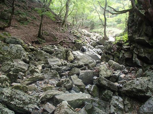 岩がゴロゴロした谷