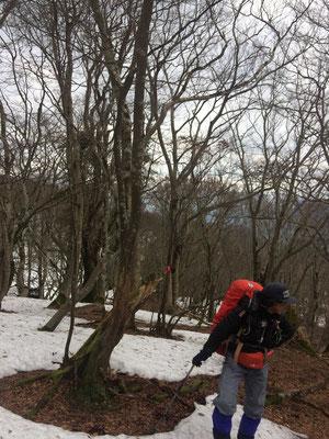 0917広い尾根に雪が現れる