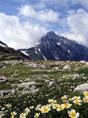 別山乗越付近からは剱岳が間近に見えてきました。