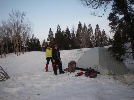 快適なテント場、標高1250m付近