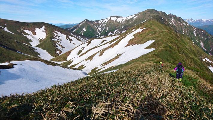 小障子ノ頭、大障子ノ頭、万太郎山と続く稜線、最高