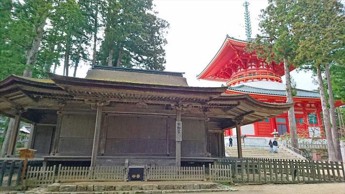 国宝の不動堂(鎌倉時代) 奥は根本大塔(昭和に再建