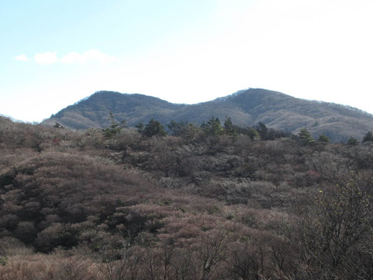 帰りの稜線から釈迦ケ岳(左)