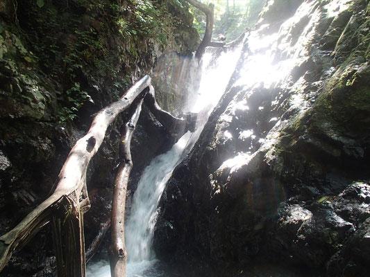 トイ状斜滝7M ここは滝芯をシャワークライム