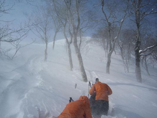 今日は1450mで撤退、滑降準備中